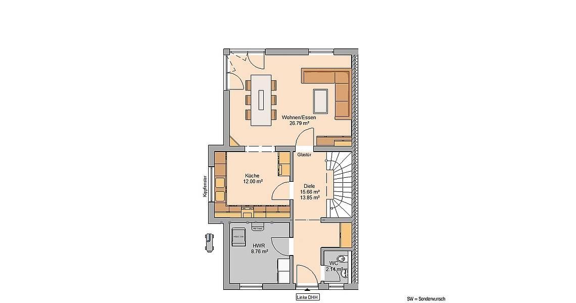 Massivhaus Kern-Haus Doppelhaus Forneo Grundriss Erdgeschoss