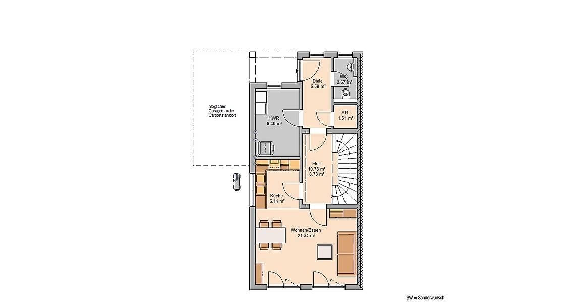 Kern-Haus Massivhaus Doppelhaus Linus Grundriss Links Erdgeschoss