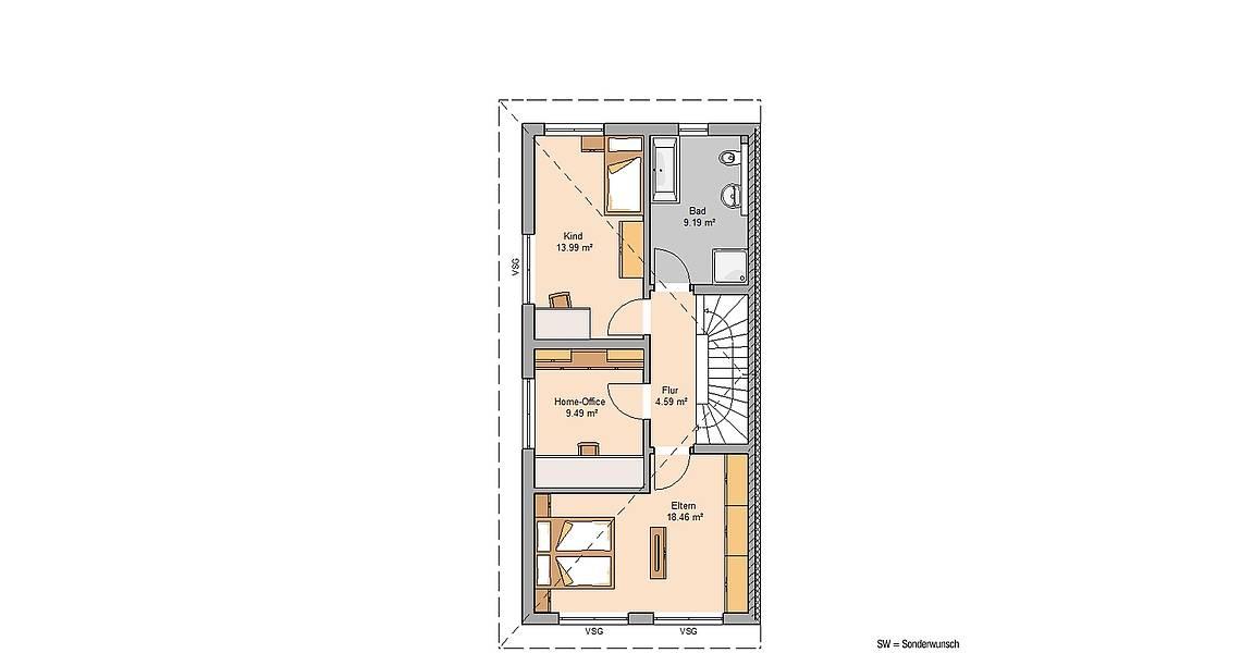 Kern-Haus Massivhaus Doppelhaus Linus Grundriss Links Obergeschoss