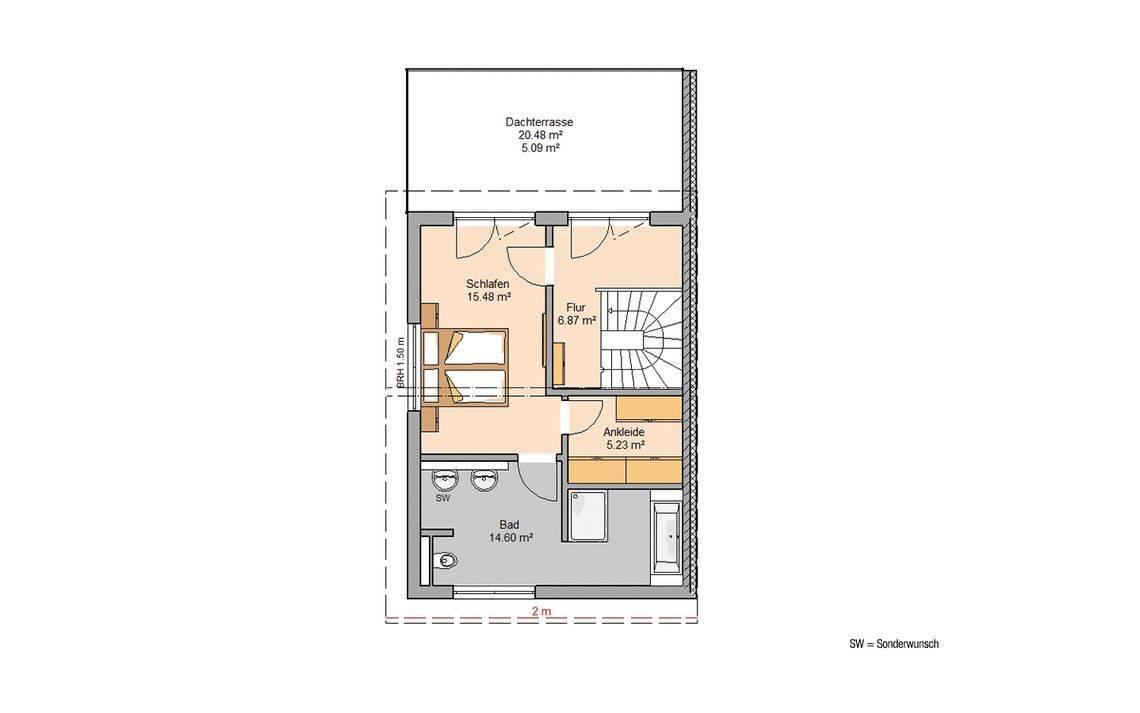 Kern-Haus Doppelhaus View Grundriss Links Dachgeschoss