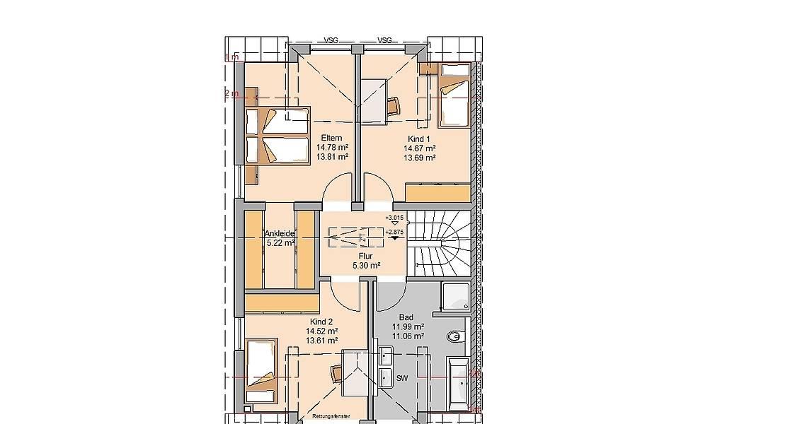 Massivhaus Kern-Haus Doppelhaushälfte Viseo Grundriss Links Dachgeschoss