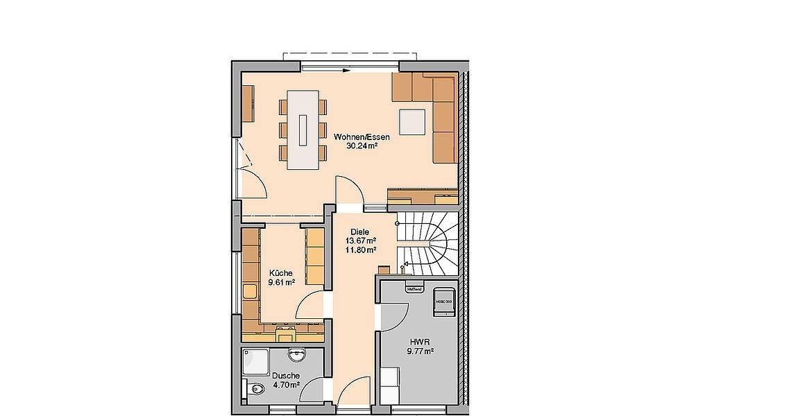 Massivhaus Kern-Haus Doppelhaushälfte Viseo Grundriss Links Erdgeschoss