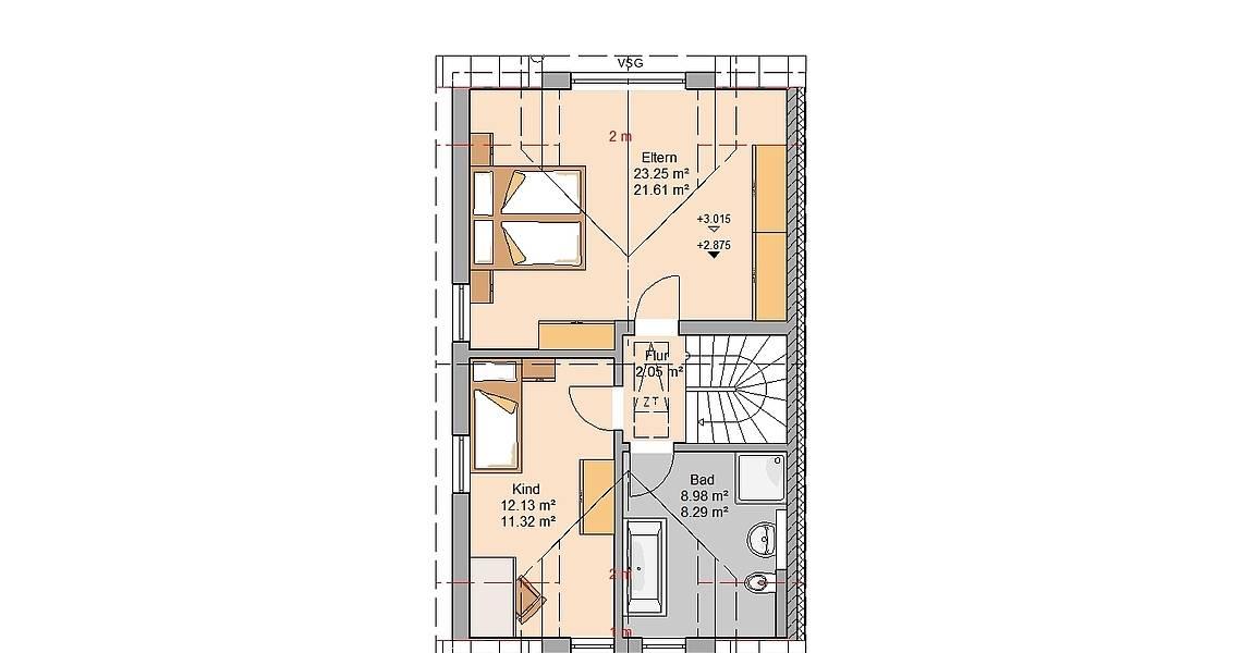Kern-Haus Doppelhaushälfte Twin Grundriss Links Dachgeschoss