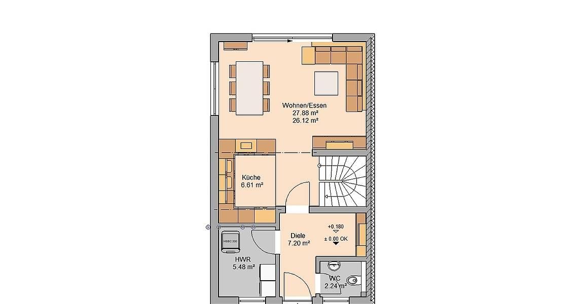 Kern-Haus Doppelhaushälfte Twin Grundriss Links Erdgeschoss