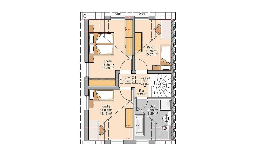 Massivhaus Kern-Haus Doppelhaushälfte Twin L Grundriss Links Dachgeschoss