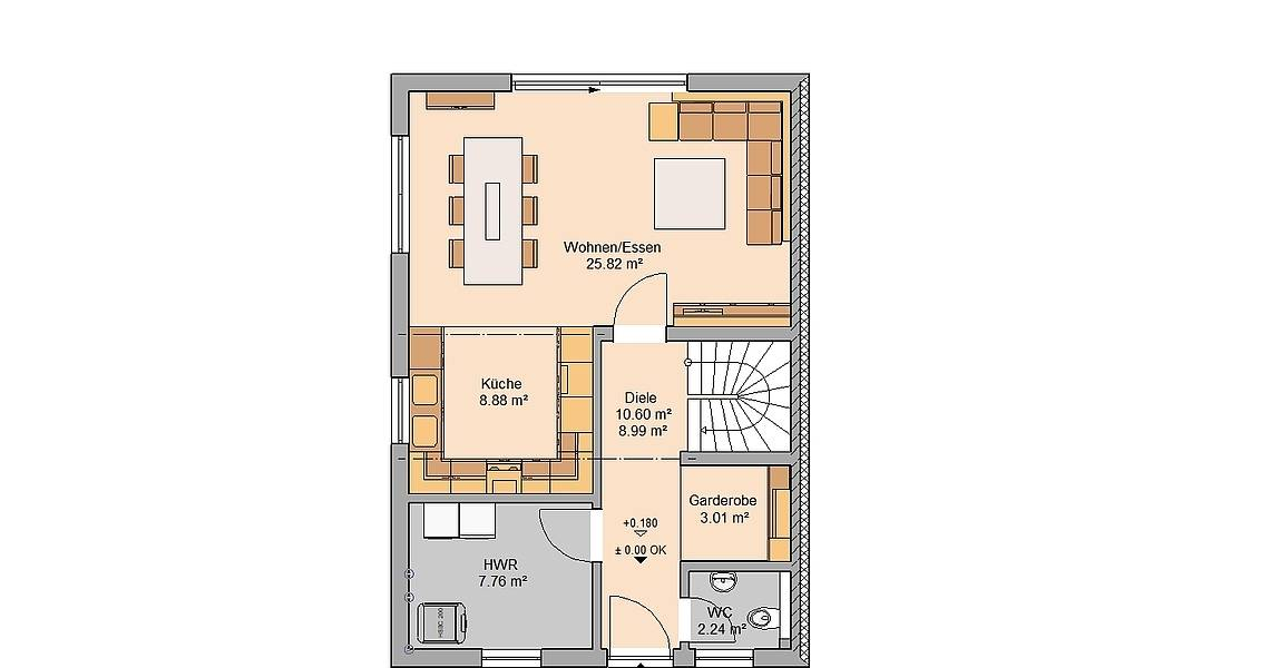 Massivhaus Kern-Haus Doppelhaushälfte Twin L Grundriss Links Erdgeschoss