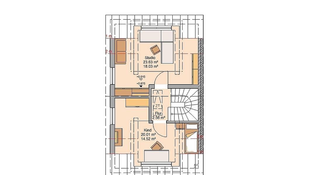 Kern-Haus Doppelhaushälfte Twin XL Grundriss Links Dachgeschoss
