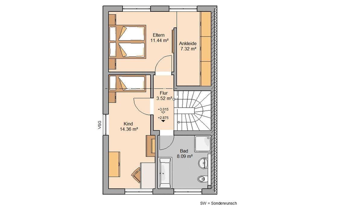 Kern-Haus Doppelhaushälfte Twin XL Grundriss Links Obergeschoss