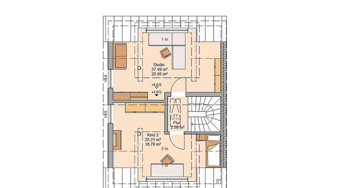 Kern-Haus Doppelhaushälfte Twin XXL Grundriss Links Dachgeschoss