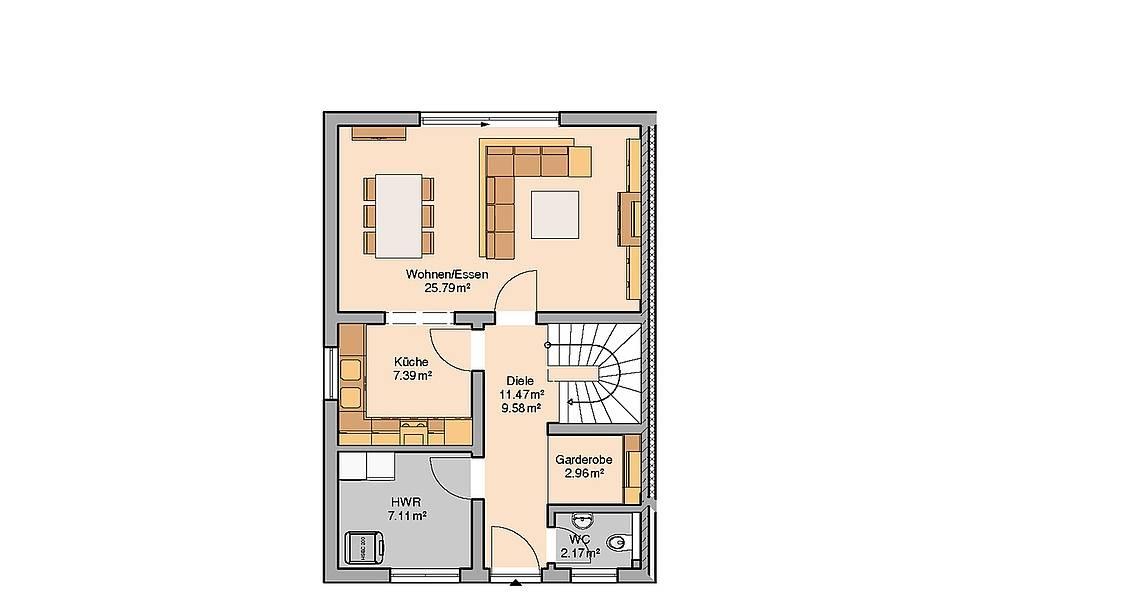 Kern-Haus Doppelhaushälfte Twin XXL Grundriss Links Erdgeschoss