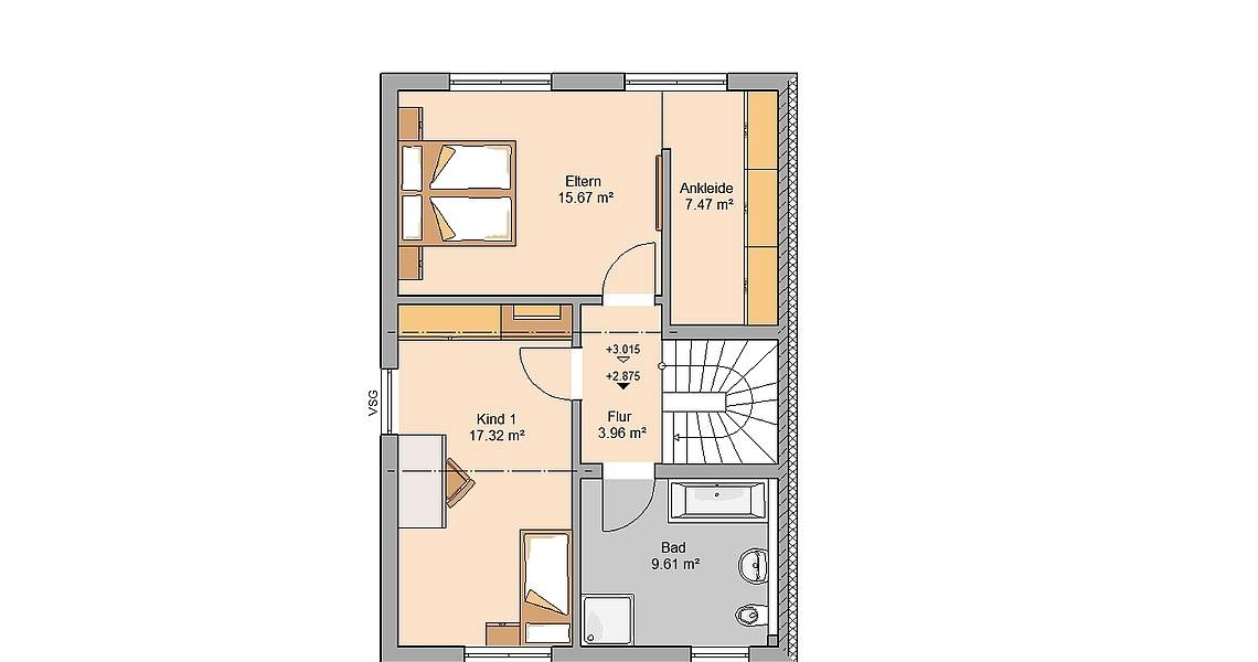 Kern-Haus Doppelhaushälfte Twin XXL Grundriss Links Obergeschoss