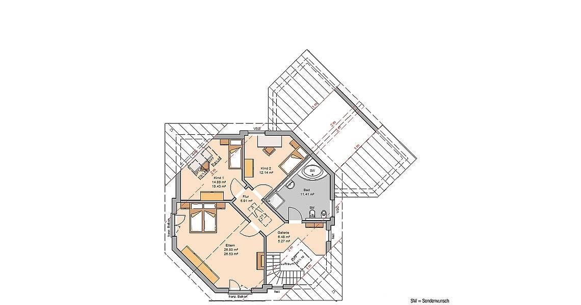 Massivhaus Kern-Haus Familienhaus Agona Grundriss Dachgeschoss