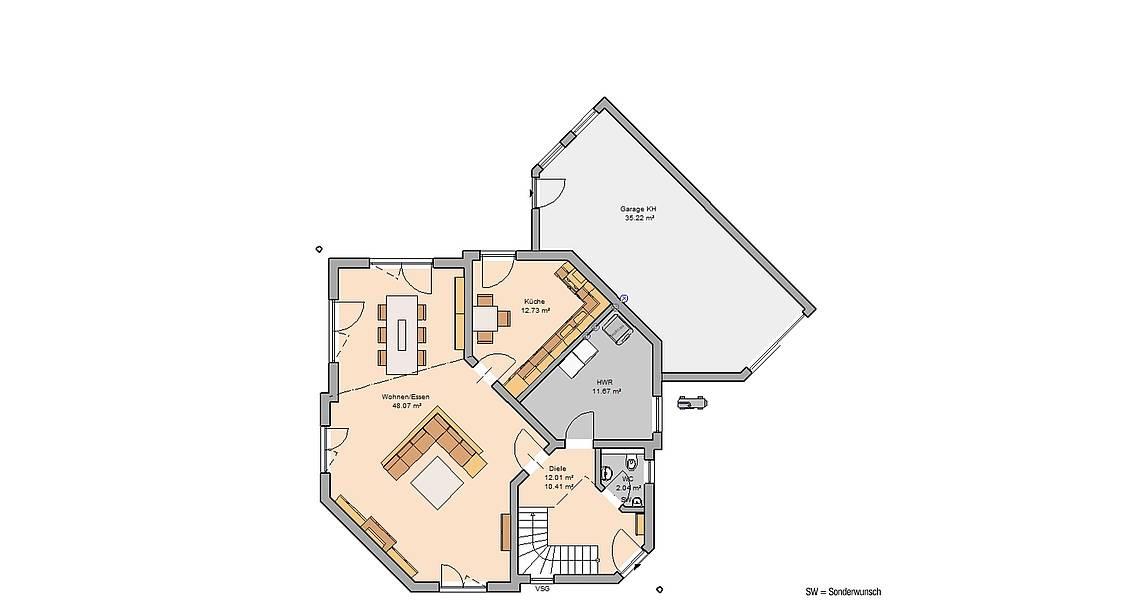 Massivhaus Kern-Haus Familienhaus Agona Grundriss Erdgeschoss