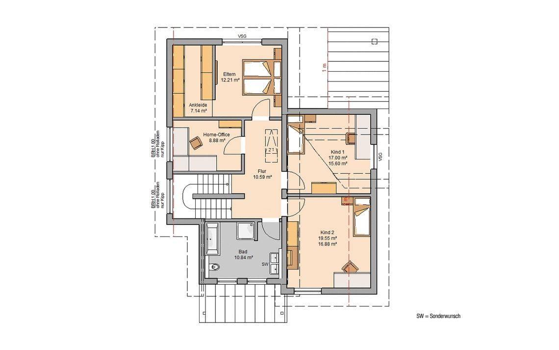 Kern-Haus Familienhaus Akzent Grundriss Dachgeschoss
