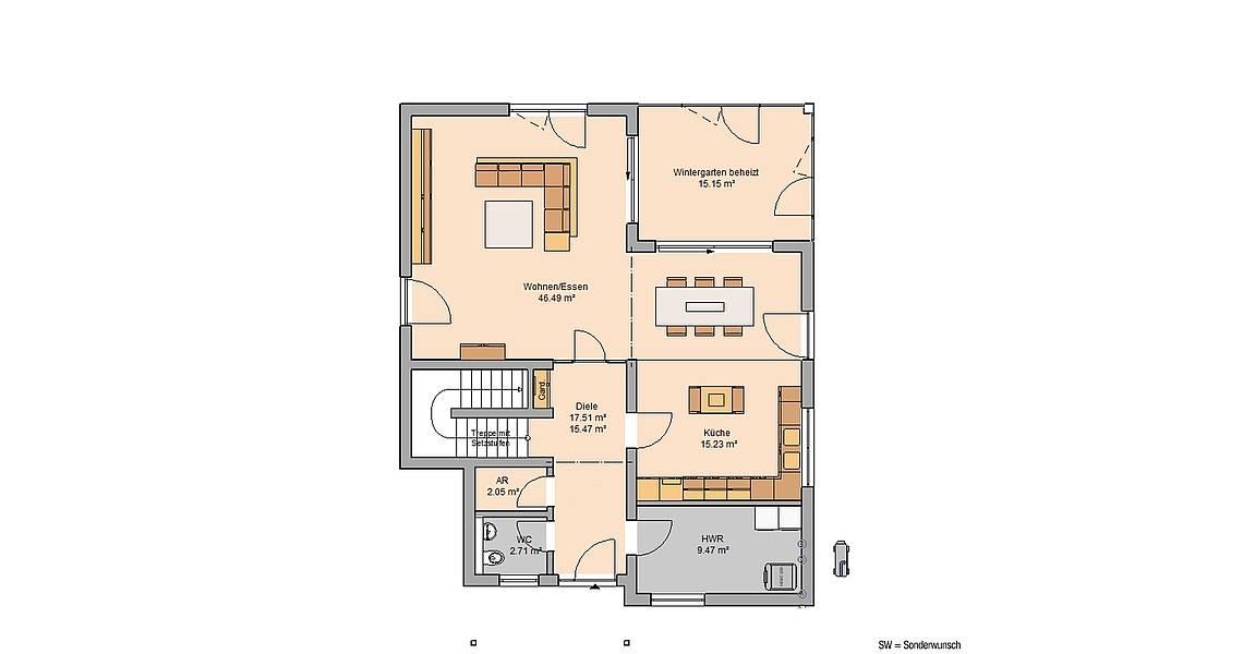 Kern-Haus Familienhaus Akzent Grundriss Erdgeschoss