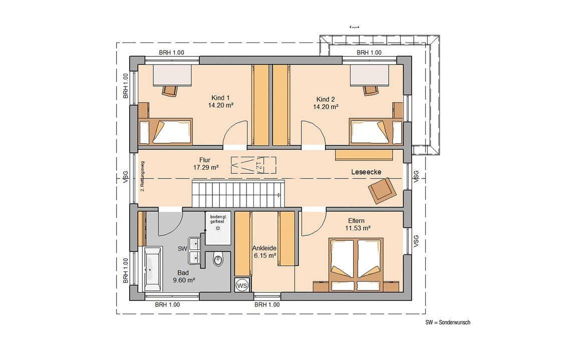 Massivhaus Kern-Haus Familienhaus Allea Grundriss Dachgeschoss