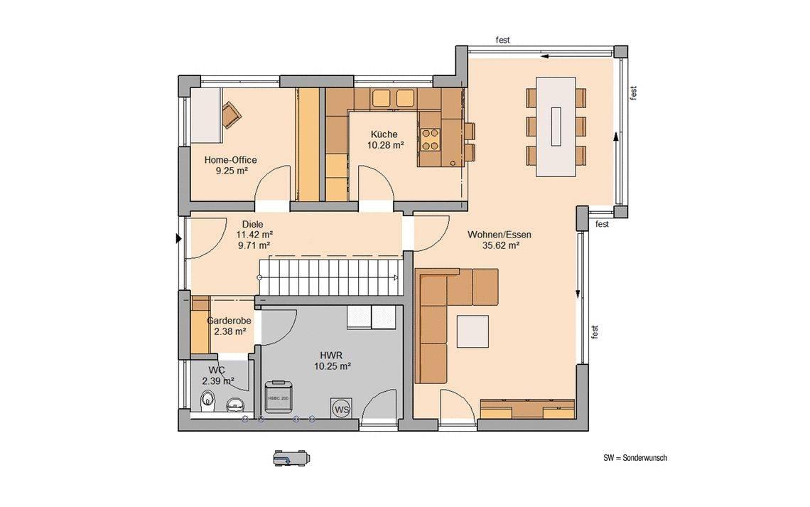 Massivhaus Kern-Haus Familienhaus Allea Grundriss Erdgeschoss