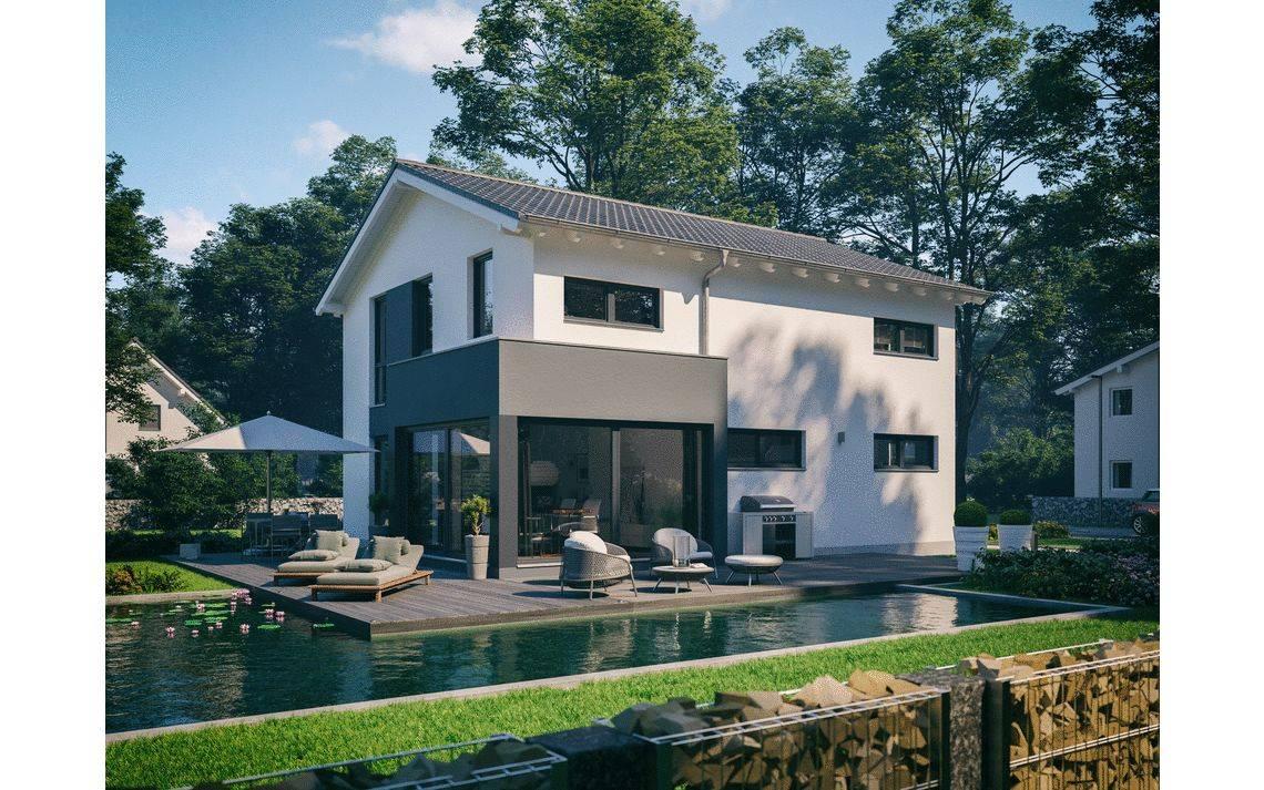 Massivhaus Kern-Haus Familienhaus Allea Gartenseite