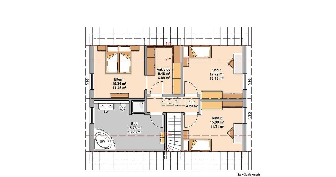 Massivhaus Kern-Haus Familienhaus Anto Grundriss Dachgeschoss