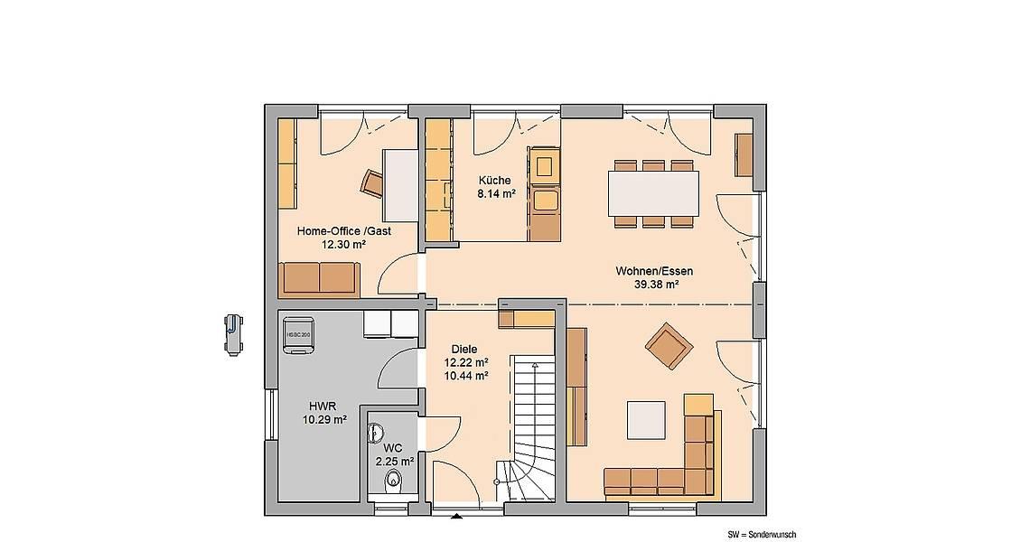 Massivhaus Kern-Haus Familienhaus Anto Grundriss Erdgeschoss