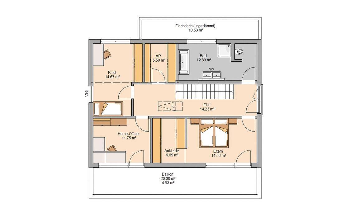 Massivhaus Kern-Haus Familienhaus Elea Grundriss Dachgeschoss