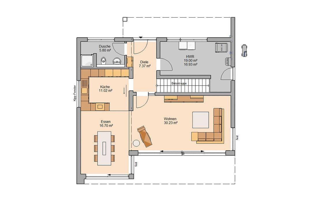 Massivhaus Kern-Haus Familienhaus Elea Grundriss Erdgeschoss