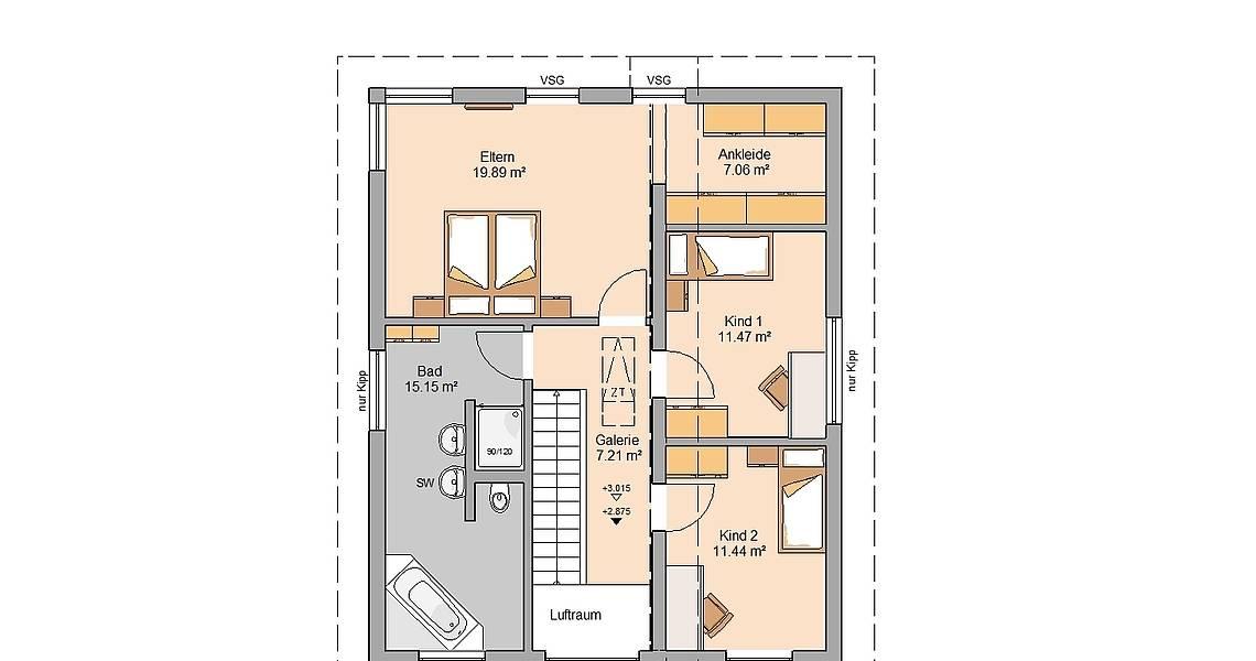 Massivhaus Kern-Haus Familienhaus Grundriss Dachgeschoss