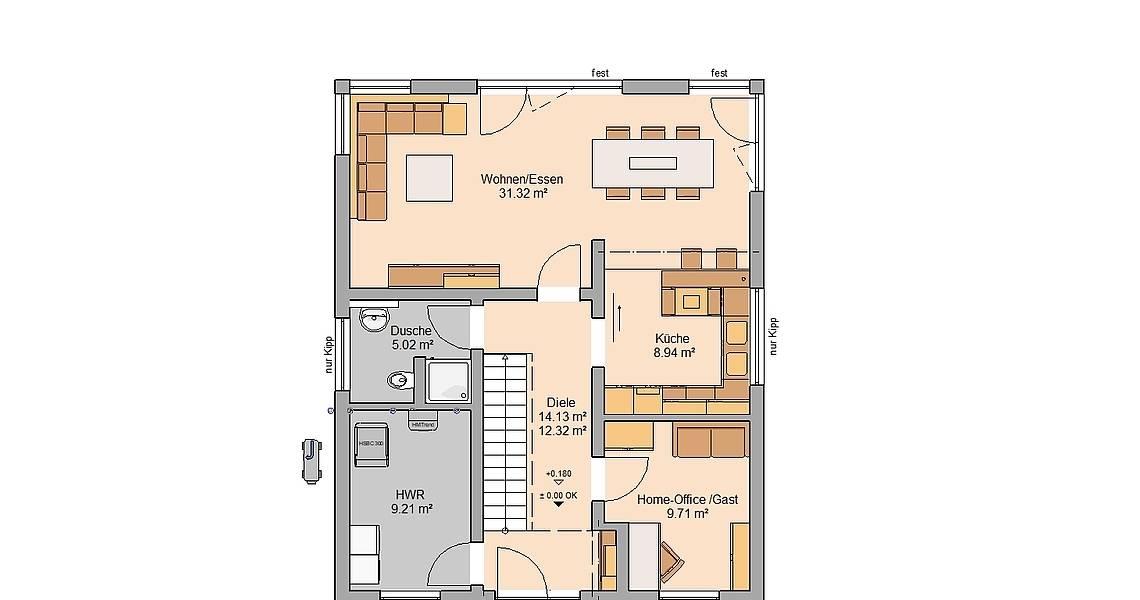 Massivhaus Kern-Haus Familienhaus Grundriss Erdgeschoss