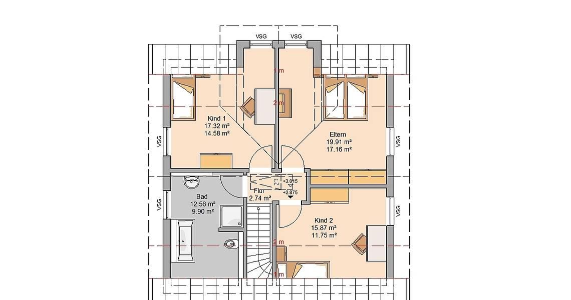 Kern-Haus Familienhaus Esprit Grundriss Dachgeschoss