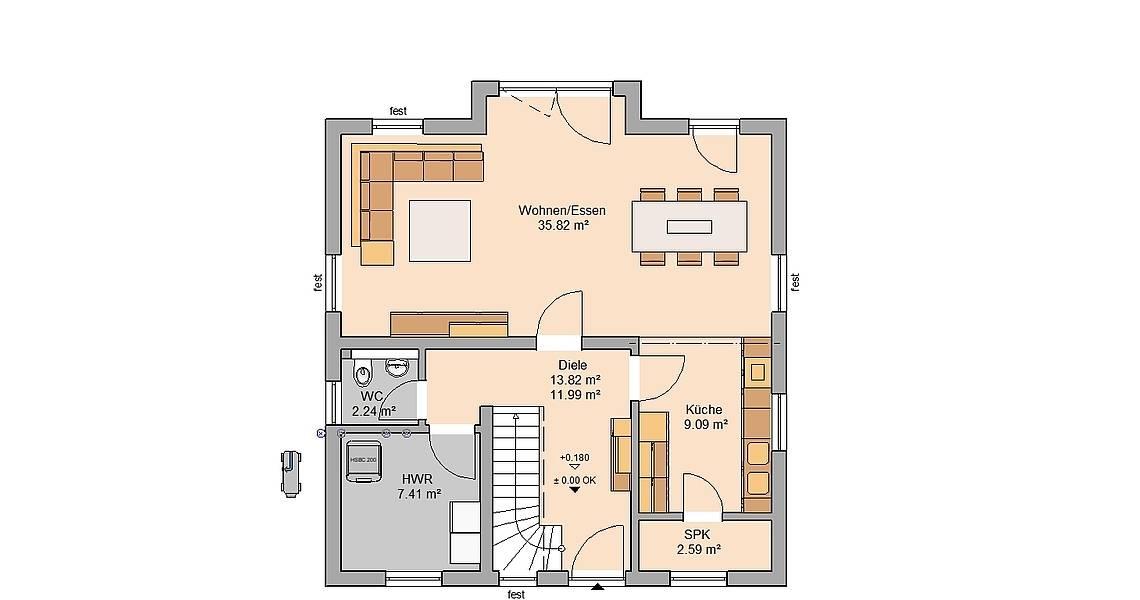 Kern-Haus Familienhaus Esprit Grundriss Erdgeschoss