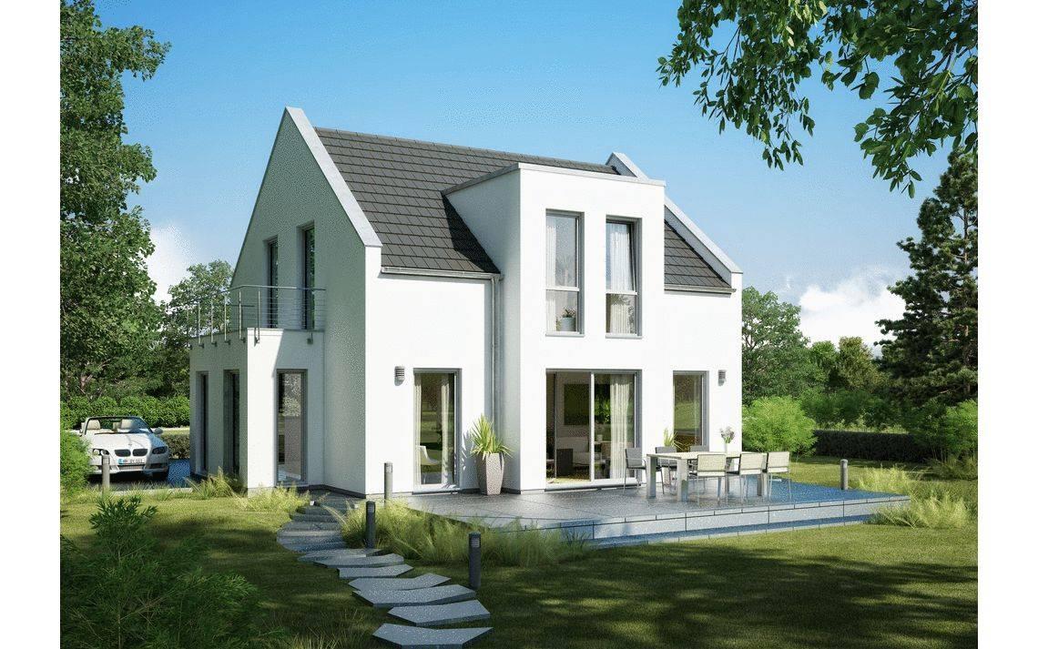 Massivhaus Kern-Haus Familienhaus Esprit Trendline Gartenseite