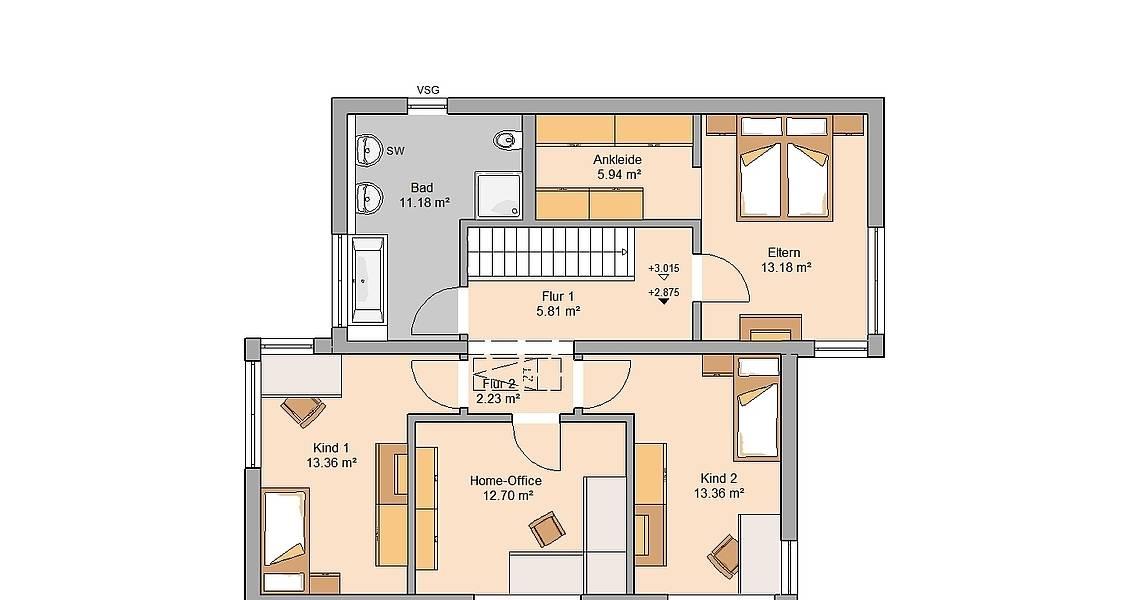 Massivhaus Kern-Haus Familienhaus Futura Grundriss Dachgeschoss