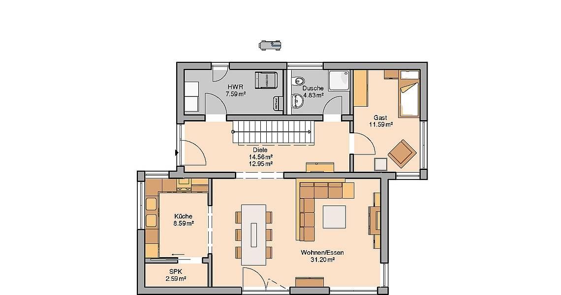 Massivhaus Kern-Haus Familienhaus Futura Grundriss Erdgeschoss