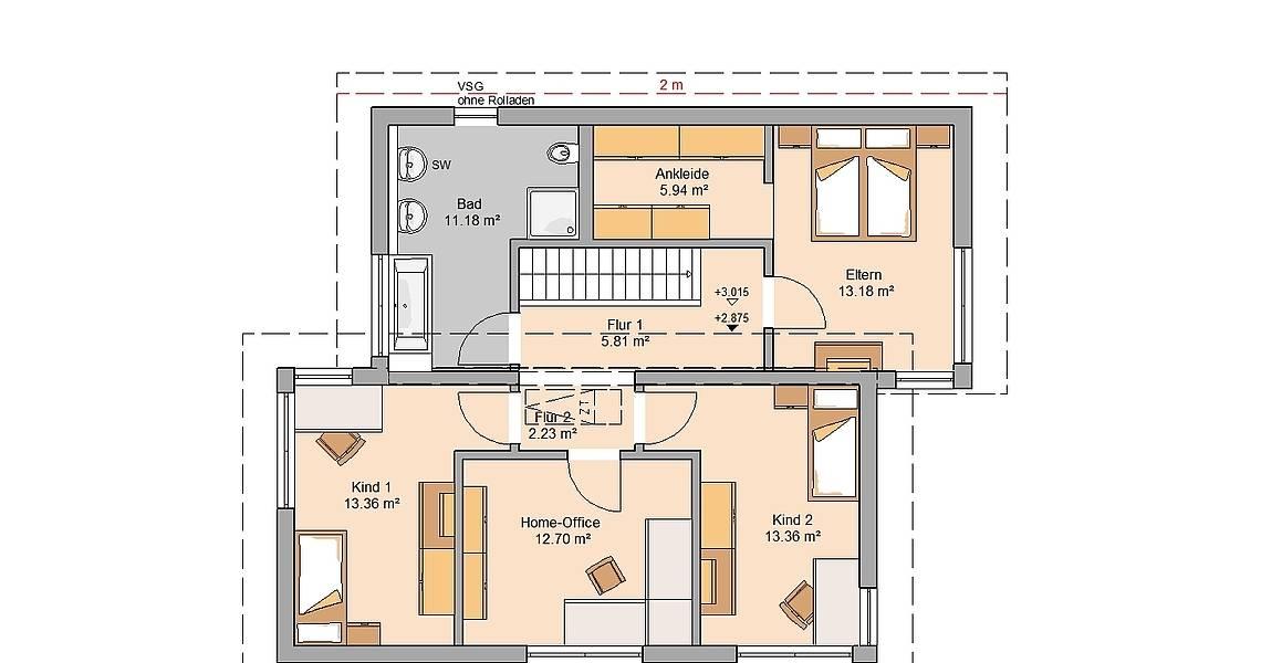 Massivhaus Kern-Haus Familienhaus Futura Pult Grundriss Dachgeschoss