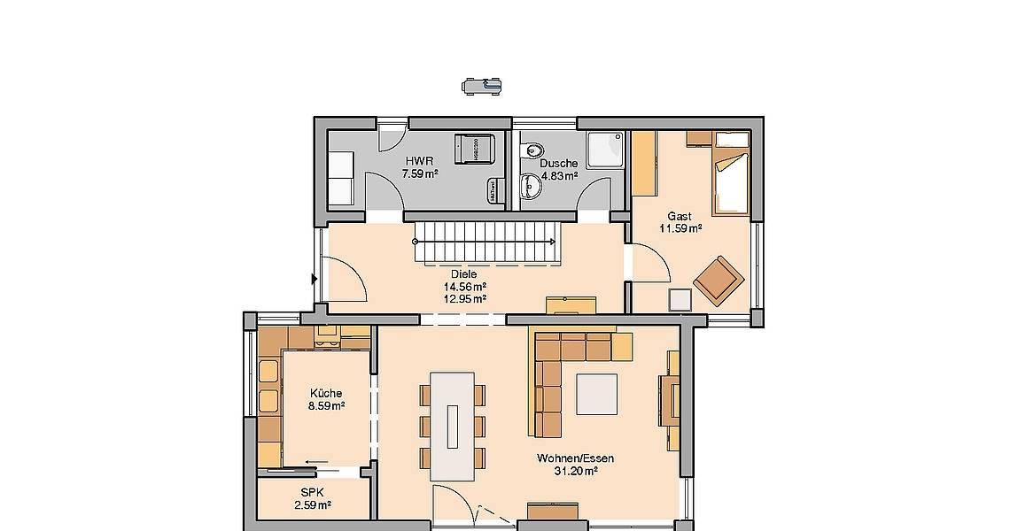 Massivhaus Kern-Haus Familienhaus Futura Pult Grundriss Erdgeschoss