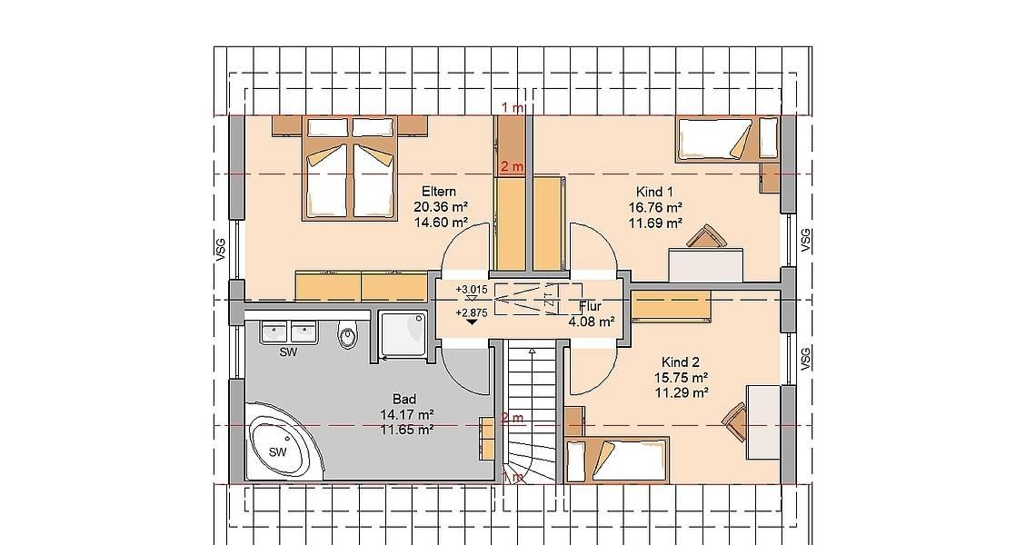 Massivhaus Kern-Haus Familienhaus Jaro Grundriss Dachgeschoss