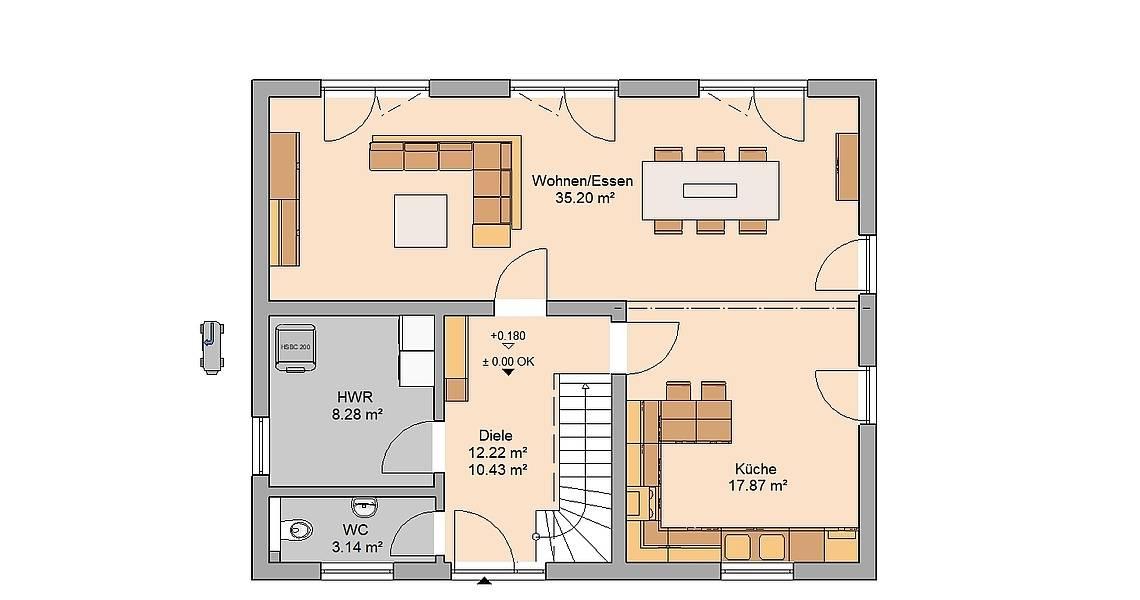 Massivhaus Kern-Haus Familienhaus Jaro Grundriss Erdgeschoss