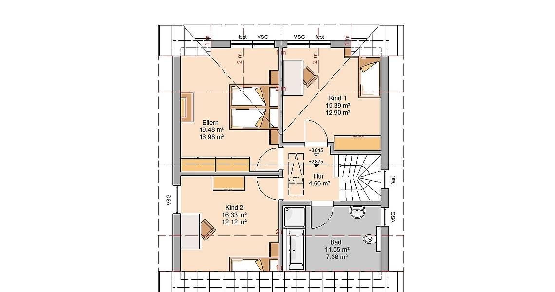Kern-Haus Familienhaus Komfort Grundriss Dachgeschoss