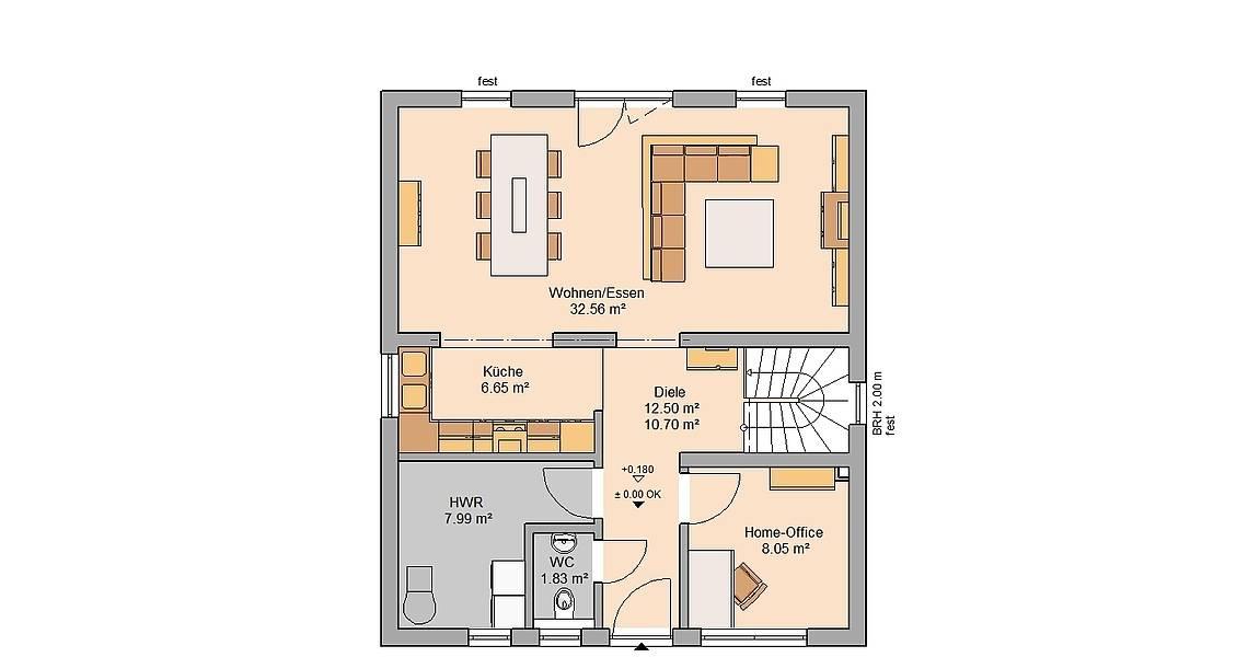 Kern-Haus Familienhaus Komfort Grundriss Erdgeschoss