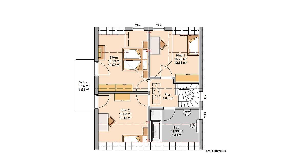 Kern-Haus Familienhaus Komfort Trendline Grundriss Dachgeschoss