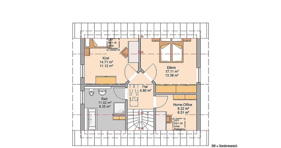 Kern-Haus Familienhaus Loop Classic Grundriss Dachgeschoss