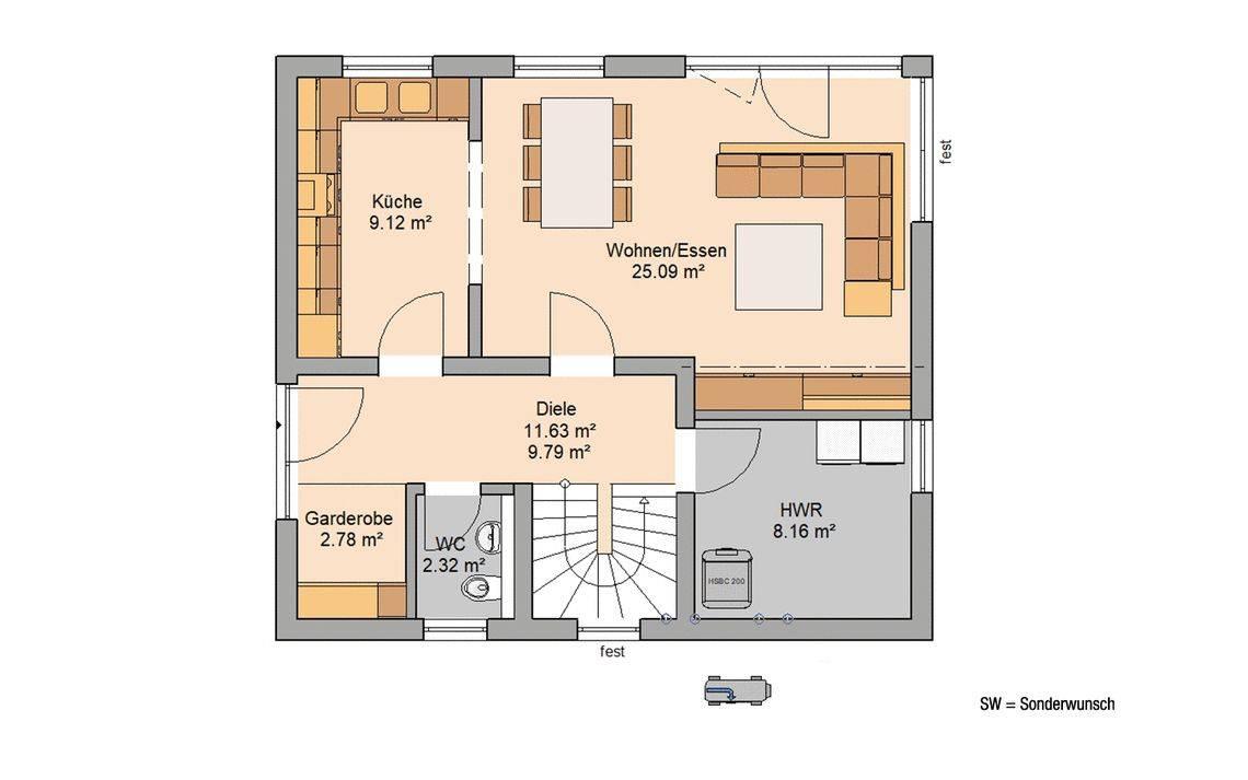 Kern-Haus Familienhaus Loop Classic Grundriss Erdgeschoss