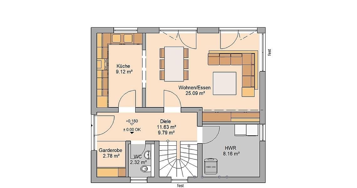 Kern-Haus Familienhaus Loop Plus Grundriss Erdgeschoss