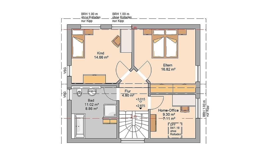 Kern-Haus Familienhaus Loop Pult Grundriss Dachgeschoss