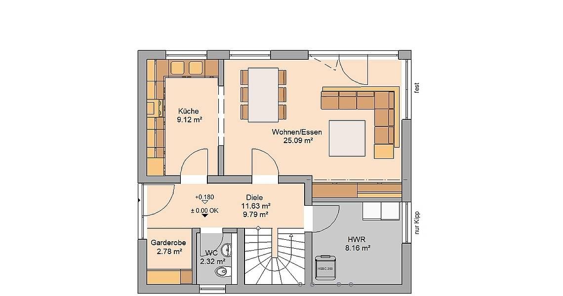 Kern-Haus Familienhaus Loop Pult Grundriss Erdgeschoss