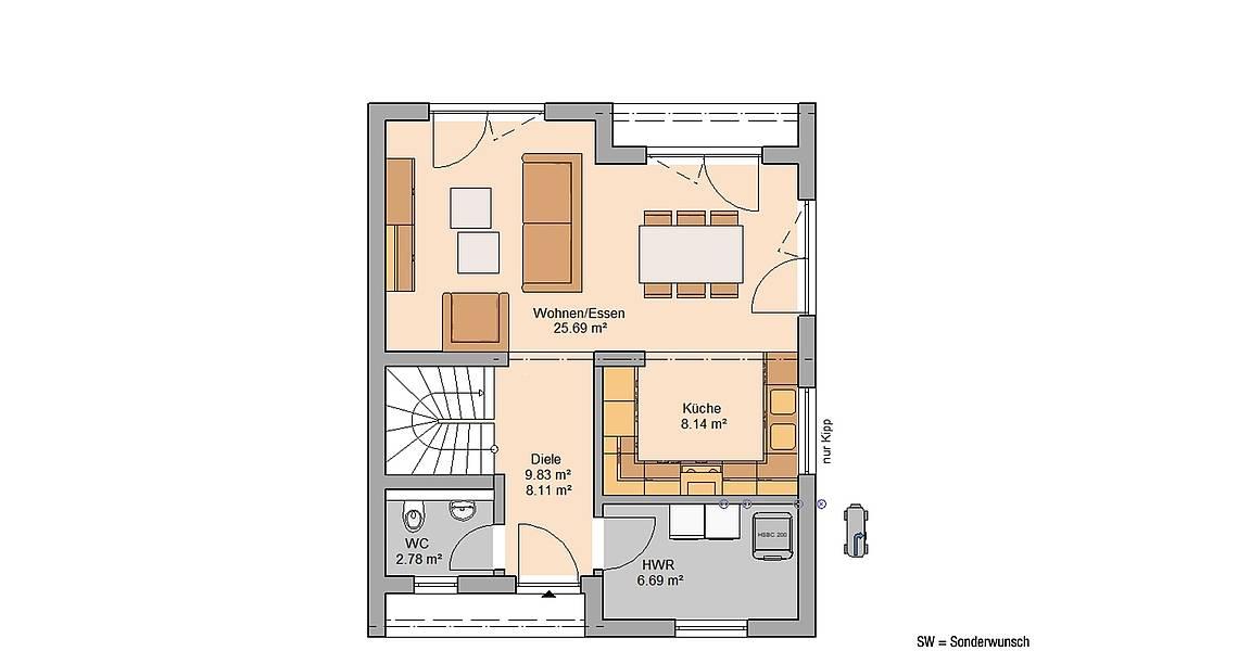 Massivhaus Kern-Haus Familienhaus Lou Grundriss Erdgeschoss