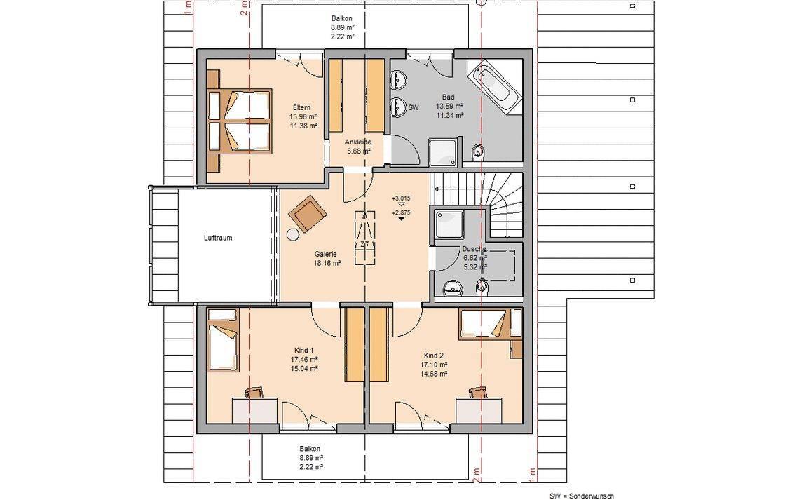 Massivhaus Kern-Haus Familienhaus Luce Grundriss Dachgeschoss