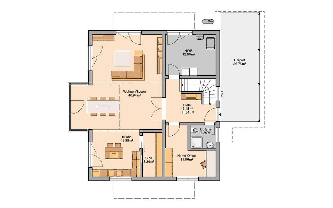 Massivhaus Kern-Haus Familienhaus Luce Grundriss Erdgeschoss