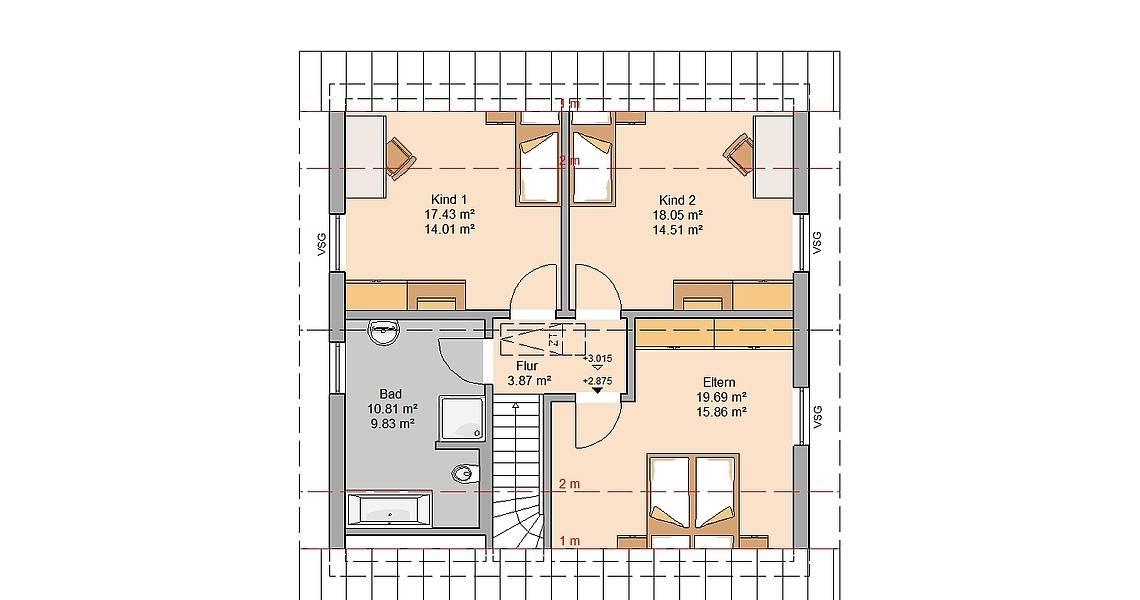 Kern-Haus Familienhaus Luna Grundriss Dachgeschoss