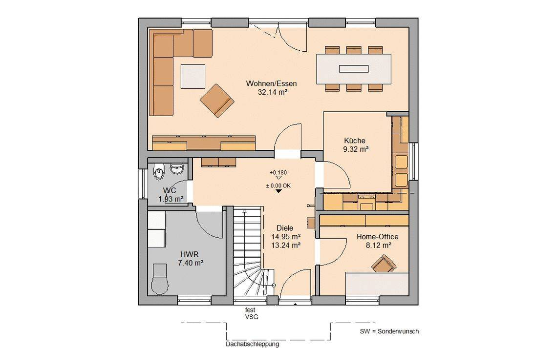Massivhaus Kern-Haus Familienhaus Luna Grundriss Erdgeschoss Paulo